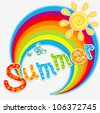 Vector summer design with rainbow, sun and butterflies (text with floral decoration) - stock vector