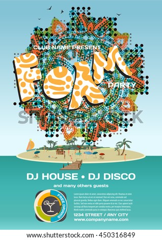 Vector summer foam party invitation beach style. Day, crowd women in bikinis. Posters or flyers. Template flat cartoon illustration.  - stock vector