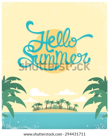 Vector summer greeting card design - stock vector