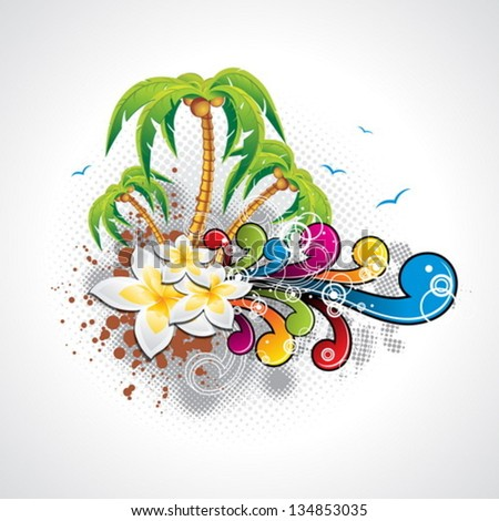Vector Summer Holiday Design with palm trees and abstract  background. Eps10 illustration. - stock vector