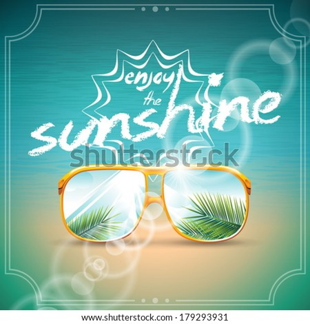 Vector Summer Holiday Design with sunglasses on blue sea background. Eps10 illustration. - stock vector