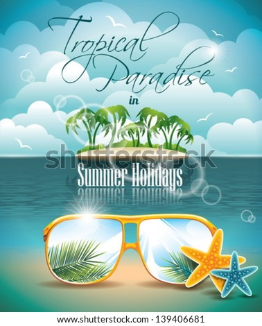 Vector Summer Holiday Flyer Design with palm trees and Paradise Island on clouds background. Eps10 illustration. - stock vector
