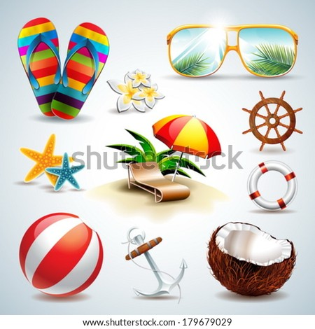 Vector Summer Holiday Icon set on clear background. Eps10 illustration. - stock vector