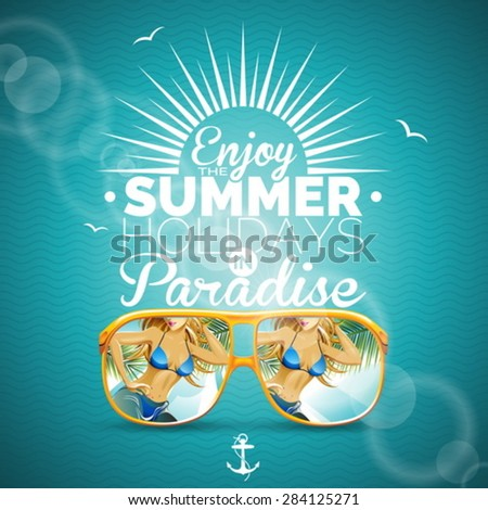 Vector Summer illustration with sexy girl and sunglasses on blue background. Eps10 illustration. - stock vector