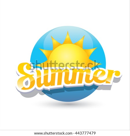 Vector Summer Label Icon Shiny Sun Stock Vector 591377021 ...