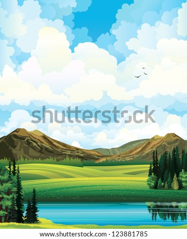 Vector summer landscape with green flowering field, forest, mountains and lake on a blue cloudy sky background.