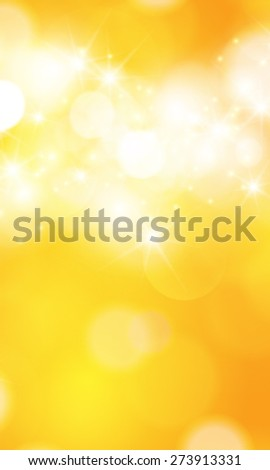 Vector summer orange background with bokeh and lens flare.