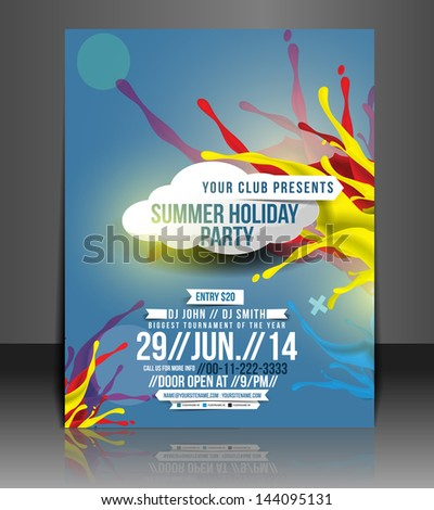 Vector Summer Party Brochure, Flyer, Magazine Cover & Poster Template - stock vector
