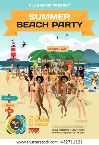 Vector summer party invitation beach style. Day beach, bar with sound system, crowd women in bikinis. Posters, invitations or flyers. Vector template beach summer party poster.