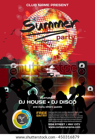 Vector summer party invitation disco style. Night beach, dj, women, discoball template  posters or flyers. - stock vector