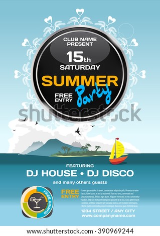 cruise ship brochure templates - vector summer party invitation disco style stock vector