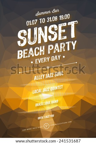 Vector Summer Party Poster Template Polygonal Sunset Background