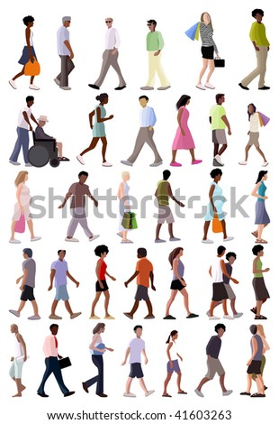 vector summer people walking crowd - stock vector