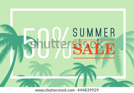 vector summer sale banner. Palm silhouette and text on blue background. Big discount - stock vector