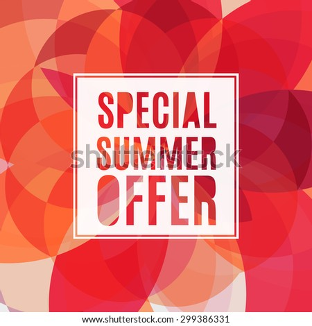 Vector summer sale design template with red colorful background. - stock vector