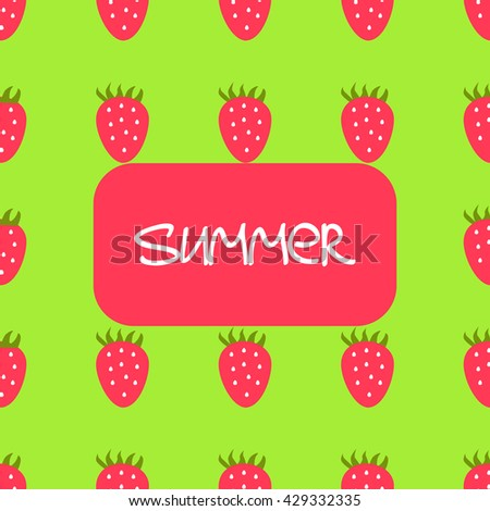 Vector summer seamless background with strawberries - stock vector