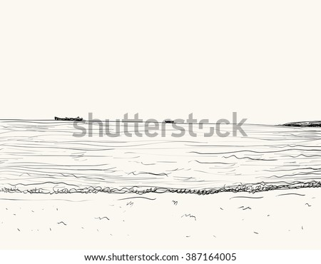 Vector summer seascape sketch. Seaside view and beach - stock vector
