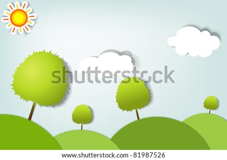 vector summer stylized landscape with trees - stock vector
