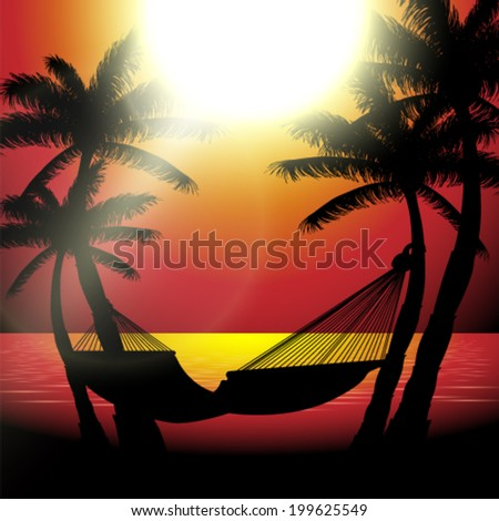 Vector summer sunset view in beach with palm trees and hammock background illustration - stock vector