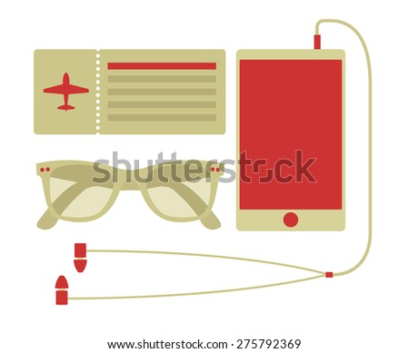 Vector summer travel set of smart phone, airplane ticket, and sunglasses in hipster style  - stock vector