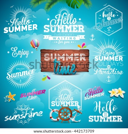 Vector Summer Typography Illustration set with signs and symbols on blue background. Icon collection for travel agency, restaurant and bar, beach vacation and party. Eps 10 design. - stock vector