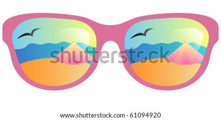 vector sun glasses with beach reflection - stock vector