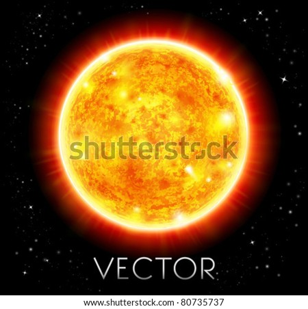 vector sun in a space background - stock vector