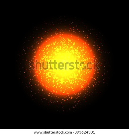 Vector sun on black background. Bright circle light. Orange star, cosmic element.  - stock vector