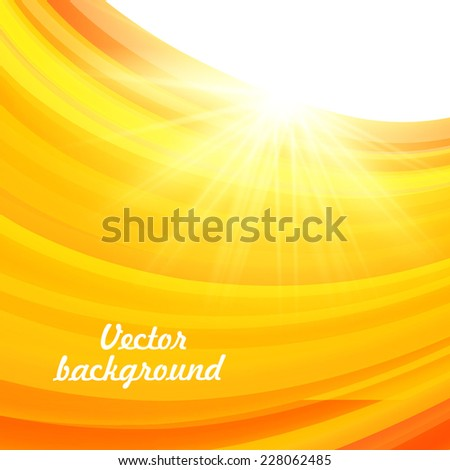 Vector sun on yellow background with orange rays - stock vector