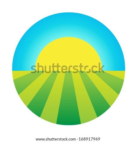 vector sun rising under the field icon, eco symbol, logo - stock vector
