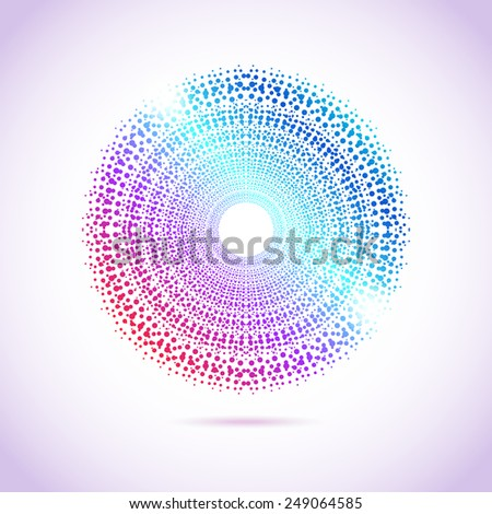 Vector sun silhouette lights greeting card. Abstract dots vivid gradient congratulation card with volume shadows effect. - stock vector