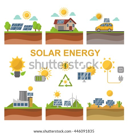 Vector sun solar energy icon set. Sun solar energy symbols electricity technology renewable ecology. Industrial clean electrical sun solar energy alternative panel modern innovation generator. - stock vector