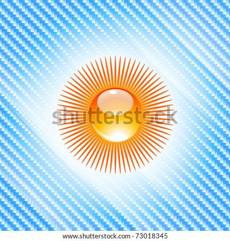 Vector sun symbol on blue background - stock vector