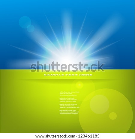 Vector sun with copy space. - stock vector