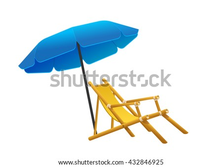 Vector sunbeds parasol depicted in the style of flat deckchair and beach areas icon deckchair and beach areas - stock vector