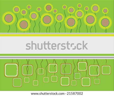 vector sunflowers label