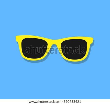 Vector Sunglasses Icon. Yellow sunglasses on blue background - stock vector