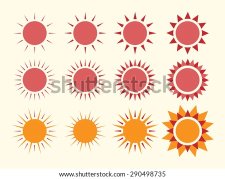 Vector suns collection. EPS 10 vector illustration, no transparency - stock vector