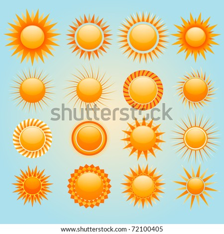 Vector suns icons design - stock vector