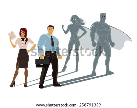 Vector super business people illustration - stock vector