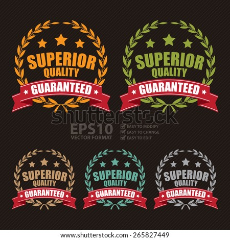 Vector : Superior Quality Guaranteed Ribbon, Wheat Laurel Wreath, Badge, Label, Sticker, Banner, Sign or Icon - stock vector