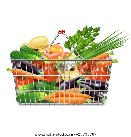 Vector Supermarket Basket with Vegetables