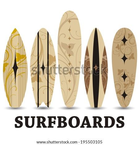 Vector surf boards / Summer Surfing / Isolated realistic surfboard a set of icons  - stock vector