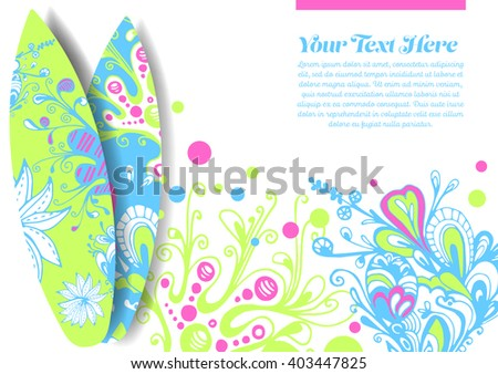 Vector Surf Graphics. Decorated surfboards for event poster design
