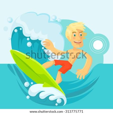 Vector surfer flat cartoon illustration - stock vector