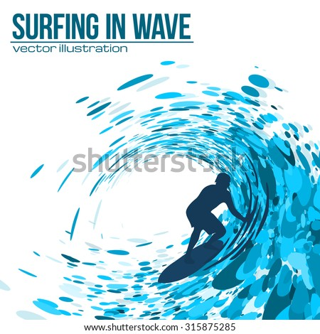 Vector surfer silhouette in blue wave - stock vector