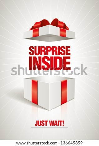 Vector surprise inside open gift box design template. Elements are layered separately in vector file. - stock vector