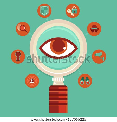 Vector surveillance and control concepts - big brother is watching - mass spying infographic design elements in flat style - stock vector
