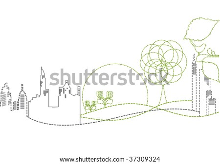 vector - sustainable city - stock vector
