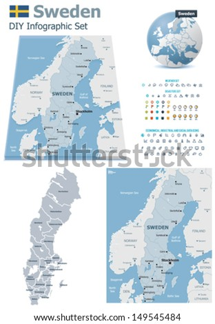 Vector Sweden Political Administrative Divisions Maps Stock Vector